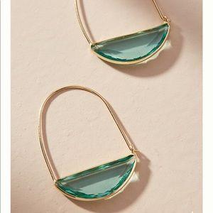 Anthropologie stone crescent hoop earring